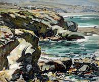 "Clarence Hinkle, ""Coast Line, Laguna"", n.d.  (ca.  1924).  Oil on canvas.  Santa Barbara Museum of Art, Gift of Mabel Bain Hinkle."