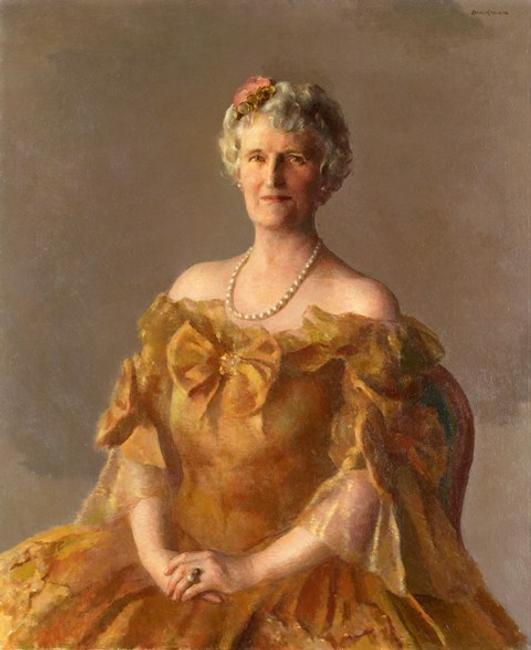 Portrait of Mrs.  John D.  Rockefeller, Jr.  (Abby Greene Aldrich), Robert Brackman, New York, New York, 1941, oil on canvas, private collection