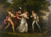 "Kauffmann, Angelica, Valentine, Proteus, Sylvia and Giulia in the Forest (Scene from ""Two Gentlemen of Verona"" Act V, Scene IV), 1788.  Oil on Canvas.  Museum purchase in memory of Winifred Herman Friedman (Class of 1945)."