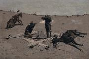 Frederic Remington, Fight Over a Water-hole, 1897.  Oil on canvas.  SBMA, Gift of Barbara D.  Dupee