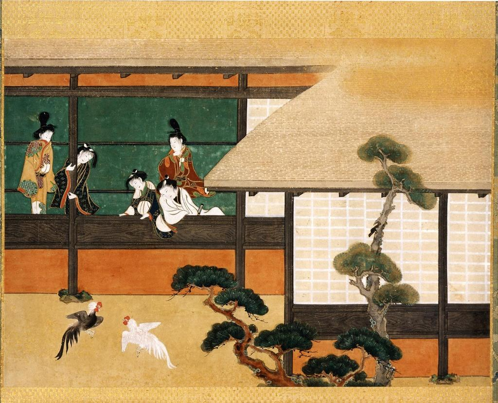 Dawn in the Geisha Quarters, Japanese, mid-17th century.  Ink and color on paper; hanging scroll.  SBMA, Museum purchase in memory of C.  Ann Booth with funds provided by Mrs.  Peter Colefax, Beatrice Farwell Duncan, Mrs.  Rowe Giesen, Henry C.  Huglin, Prudence R.  Myer, Mr.  and Mrs.  John Rex, Robert Skiles, Mrs.  Burwell B.  Smith, Carol L.  Valentine, F.  Bailey Vanderhoef, Jr., Mr.  and Mrs.  Otto Wittmann, Mr.  and Mrs.  David Y.  Wong, and the Friends of Asian Art.