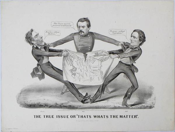 "Currier & Ives, The True Issue or ""That's What's the Matter"".  Published in New York, 1864.  13.5 x 17.75 inches, lithograph"