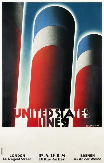 A.M.  Cassandre, United States Line, 1928.