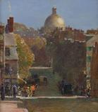 Childe Hassam (1859-1935), Mount Vernon Street, Boston, Looking Toward the State House, c.  1890.  Oil on canvas, 18 ¼ x 16 in.  Signed lower right.  Courtesy of Godel & Co.  Fine Art (NY)
