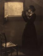 Clarence H.  White, American, 1871–1925, Girl with Mirror, 1912, printed after 1917.  Varnished palladium print.  George Eastman Museum, purchase.