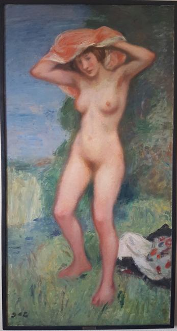"LOT 1O Artist: Georges D'Espagnat (1870-1950) Title: Femme Nue Medium: Oil on Canvas Size: 33"" x 64"" (84 x 162.5 cm) approximate canvas size Provenance: Estate of Louis & Annette Kaufman.  ESTIMATE: $12,000-18,000"