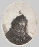 Rembrandt van Rijn (1606–1669), Self Portrait with Plumed Cap and Lowered Sabre, 1634.  Etching and drypoint, 5 x 4 1/2 in.