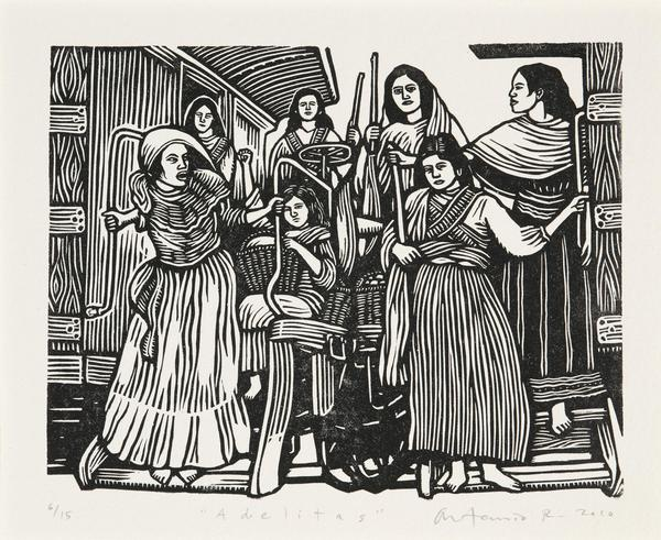 Artemio Rodriguez, Adelitas from Estampas de la Revolución Mexicana, 2010.  Linocut.  Collection of the McNay Art Museum, Museum purchase.