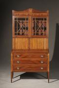 Federal Satinwood and Figured Birchwood Inlaid Mahogany Secretary-Bookcase, Circa 1805 ($3,000-$5,000)
