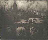 Wren's City, 1909.  Mezzotint.