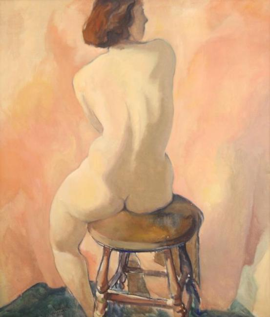 Carl Frederick Gaertner (1898-1952) Seated Nude, Oil on canvas.