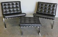 "Pair of Mies van der Rohe ""Barcelona Chairs"" with Ottoman."