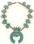 Lovely Native American floral squash blossom necklace.