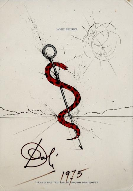 Full Catalogue Entry Salvador Dali (1904-1989) Snake in Landscape, 1975, Gouache, ink and pencil on paper,