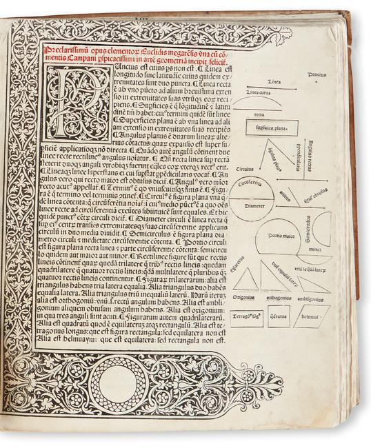 Euclid, Elementa geometriae, Venice, 1482.  Estimate $60,000 to $80,000.  At auction October 18.
