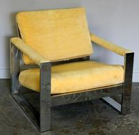 Thayer Coggin Midcentury Chrome & Upholstered Arm Chair.  Chrome plated steel designed by Milo Baughman.