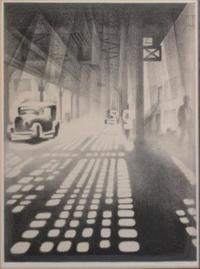"LOZOWICK, Louis.  Lithograph ""Checkerboard (Under the Elevated)."" Pencil signed lower right and dated 1926."