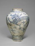 An Important and Monumental Blue and White Porcelain Dragon Jar, Joseon dynasty (18th century)