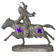 "Lot 2593, ""The Birth of a Nation"" Sterling Statuette.  Mounted Ku Klux Klansman commemorating the silent film ""The Birth of a Nation,"" ca.  1915, Estimate: $5,000-7,000.  Engraved, ""The Clansman"" and ""To David Wark Griffith in Appreciation from Robert Goldstein"".  Note: D.W.  Griffith was the director of ""The Birth of a Nation"" and Robert Goldstein supplied the costumes.  ""The Clansman"" is the name of the book on which ""The Birth of a Nation"" was based."