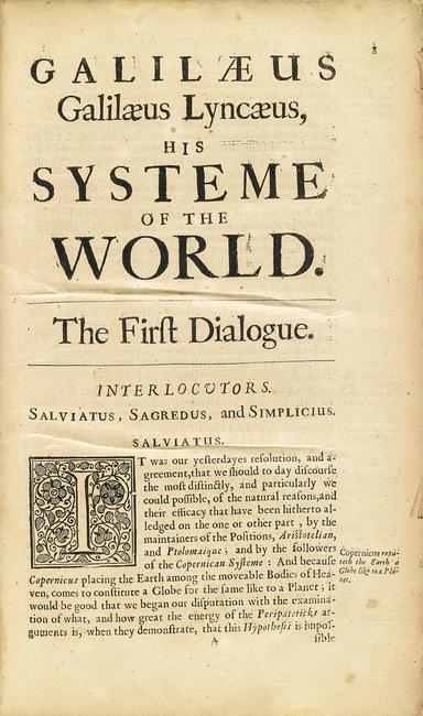 Lot 260: Galileo Galilei, Galilæus .  .  .  His Systeme of the World, in Thomas Salusbury's Mathematical Collections and Translations, first edition, London, 1661.  Estimate $10,000 to $15,000.