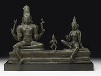 Important bronze group of Somaskanda from South India of the Chola period, circa 11th century