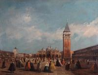 "$16,000 hammer.  In the manner of Guardi.  ""Piazza San Marco."" Oil on Canvas."