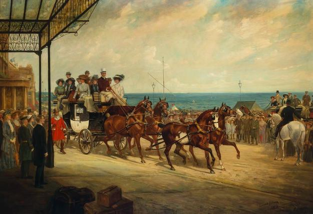 "James Lynwood Palmer (British, 1868-1941) Alfred Gwynne Vanderbilt Arriving At Brighton, Driving his Coach ""Venture,"" 1909."
