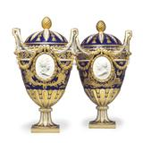 A magnificent pair of Sèvres porcelain bleu nouveau two-handled vases and covers, circa 1774, estimate: $250,000-350,000
