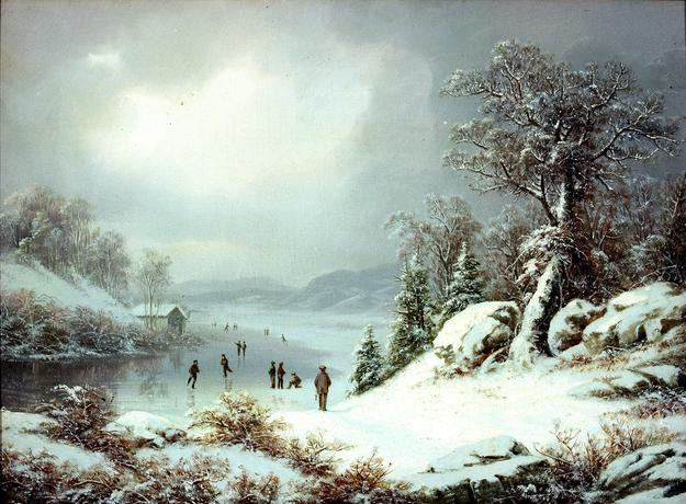 Regis Francois Gignoux (1816-1882), Winter Landscape with Skaters, c.  1860, oil on canvas.