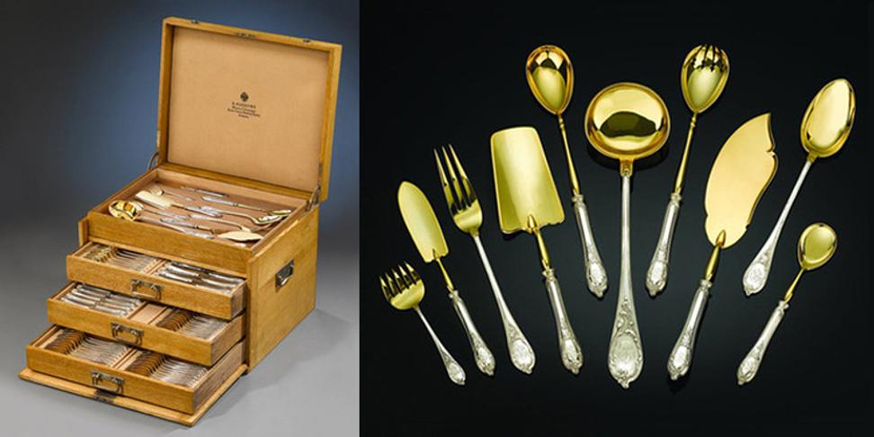 Fine silver firms, such as Fabergé, created important flatware services of the utmost quality.