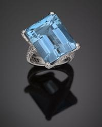 An absolutely brilliant 23.67-carat aquamarine is the star of this Tiffany & Co.  ring