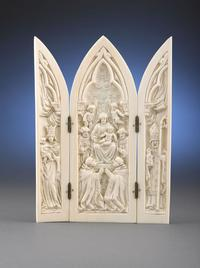 This Austrian example pays reverence to the Virgin Mary and the Christ Child.  Religious triptychs were small enough to be carried by the devout when they traveled.