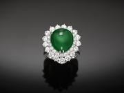 A rare and stunning Burmese Imperial jadeite is the star of this striking ring