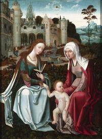 The Virgin, Christ child and Saint Anne are painted with the greatest realism and beauty