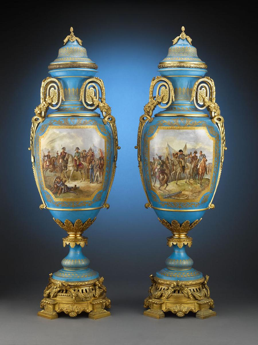 These massive Sèvres Palace urns stand over five feet tall and are extremely rare due to their size and expense to produce