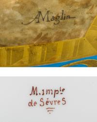 The artist's signature and the Imperial Sèvres mark are on each urn