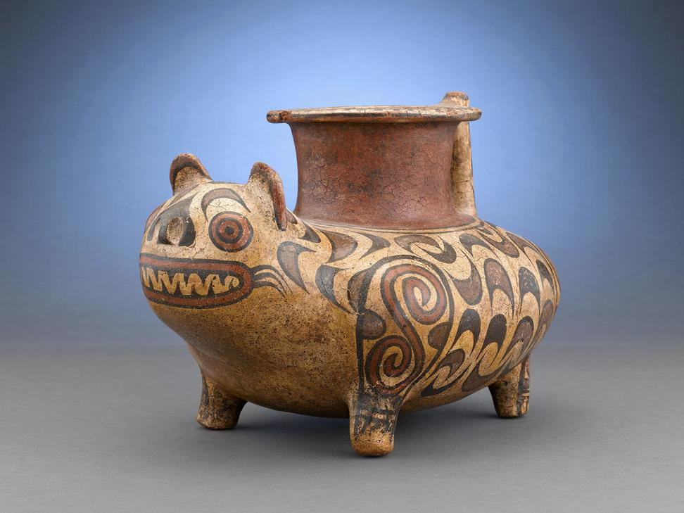 The peoples of Central America used animal symbolism in their pottery, such as this Veraguas Feline Figure, which most likely illustrating a spiritual transformation.