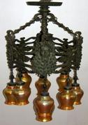 Oscar Bach Cast Bronze Patinated Bacchus Chandelier.