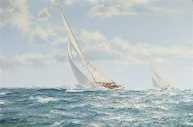Montague J.  Dawson (1895-1973) The America's Cup Race 1962, Weatherly and Gretel, Oil on canvas.