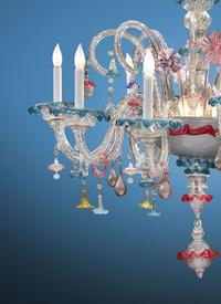 Brilliant color and delicacy inform this rare Venetian Murano glass chandelier