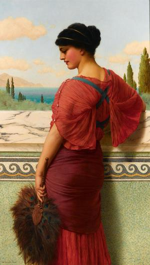 "Godward's ""Phyleis"" renders the Greek tragedy with an exquisite color palette and meticulous detailing"