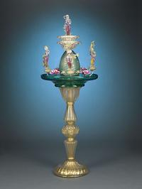 This one-of-a-kind, hand-crafted Venetian fountain is a remarkable example of Murano glass
