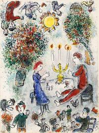 Le Repas des Amoureux reflects the importance of faith and community had on Chagall's oeuvre
