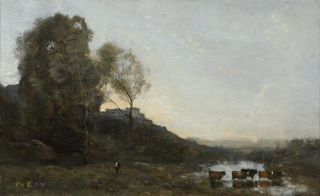 "With its luminous palette and feathery brushstrokes, ""Le Gué aux Cinq Vaches"" is exemplary of Corot's mature style.  Oil on canvas.  Signed ""Corot"", circa 1865"