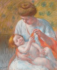 Baby Lying on his Mother's Lap by Mary Cassatt.  Circa 1914.