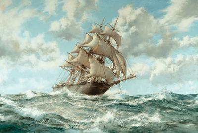 Over the Crest: The Lightning by Montague Dawson