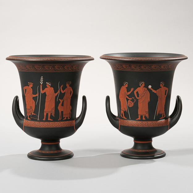 Pair of Wedgwood Encaustic Decorated Black Basalt Calyx Krater Urns, England, early 19th century (Lot 102, Estimate $3,000-5,000)