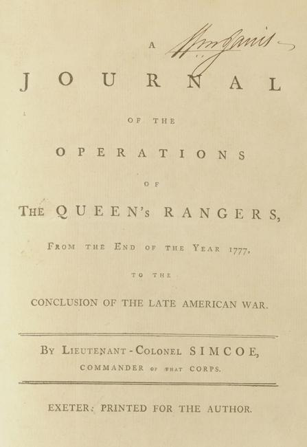 This Rare Privately Published and Distributed Journal by British Officer John Graves Simcoe caught the eye of several interested bidders.