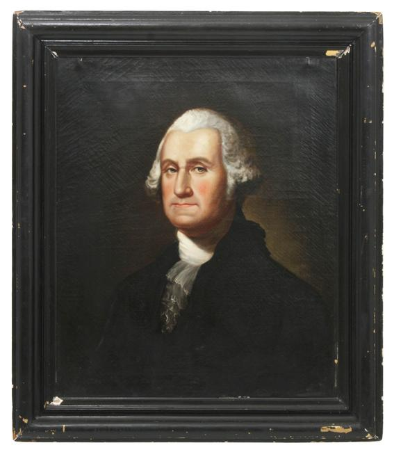 Unsigned oil on canvas portrait of George Washington, attributed to Thomas Sully (Br./Am., 1783-1872), 37 inches by 33 inches, framed (est.  $20,000-$30,000).