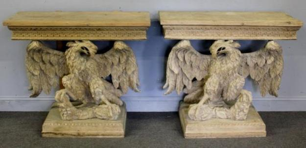 Magnificent carved wood eagle consoles.